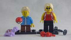 Brick Yourself Custom Lego Figures - Mum with Boxing Gloves & Son with Pokemon Ball & Pet Turtel