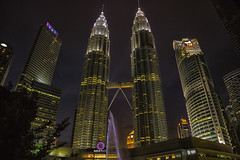 Twin towers (Pawel Wietecha) Tags: city lights kualalumpur petronastowers malaysia landscape cityscape sky blue red yellow orange ravel trip color light colors vivid outside outdoor journey nightscape architecture modern art