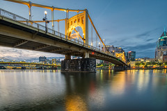 Pics from Pittsburgh #2 (tquist24) Tags: alleghenyriver hdr nikon nikond5300 northshoretrail outdoor pennsylvania pittsburgh robertoclementebridge bridge city cityscape clouds downtown geotagged lights longexposure morning outside reflection reflections river sky water