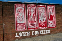 Lager Lovelies, Glasgow, UK (Robby Virus) Tags: glasgow scotland uk unitedkingdom gb greatbritain wellpark brewery beer brewing street art brick wall lager lovelies girls cans smug graffiti mural artist tennents