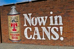 Now in Cans, Glasgow, UK (Robby Virus) Tags: glasgow scotland uk unitedkingdom gb greatbritain wellpark brewery beer brewing street art brick wall lager smug graffiti mural artist tennents canes conetop