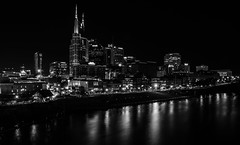 Feel the flow (Rabican7-away for while) Tags: nashvilletn nashville skyline view night lights buildings river cumberlandriver busy monochrome blackandwhite tower reflection water flow fall november longexposure