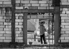 New Construction (kristenscotti) Tags: blackwhite street absoluteblackandwhite abstract architecture black blackandwhite brick bright building bw city concrete door fall grey highcontrast man microfourthirds modern mono monochrome olympus paint pen penf people streetlife streetlight streetlights streetshooter streetshot streetvision summer symmetry texture urban visuals white zoom zuiko frame hat straw blocks ladder pail tar cinder block bars stripes shoes tshirt plastic singapore bags square nested stud reflections bottle working job onthejob new dig gravel break candid squareformat pants asia woman