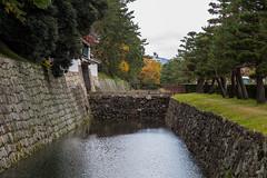 The Moat in My Eye (AHeinbockel) Tags: kyoto japan nijo castle moat rain autumn fall colors stone wall moss trees gate bridge pine orange yellow red green rainy overcast