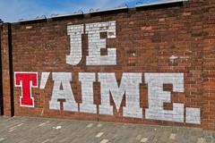 Je T'Aime, Glasgow, UK (Robby Virus) Tags: glasgow scotland uk unitedkingdom gb greatbritain wellpark brewery beer brewing street art brick wall lager smug graffiti mural artist tennents je taime