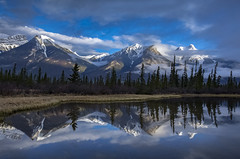 Jasper spring scene (Robert Grove 2) Tags: jasper canada alberta mountains reflections water spring blue clouds