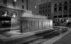 Fountain, Piazza Monte Grappa, Varese - Explore (mswan777) Tags: water flow long exposure mist spray waterfall park plaza city urban travel outdoor varese italy apple iphone iphoneography mobile monochrome black white building architecture
