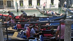 Waiting for clients (mikael_on_flickr) Tags: waitingforcustomers waiting aspettando gondole gondols venezia venedig venice gondolieri gondoliers guys men maschi uomini summer sommer estate