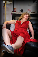 late... (the ripped bystander) Tags: lady sofa red dress