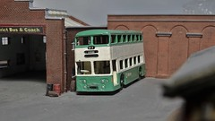 In For an Overhaul Including a New Set of Windows. (ManOfYorkshire) Tags: daimler fleetline ngauge luxton garage diorama repainted detailed overhaul diecast model scale route71 leeds bradford metro wypte