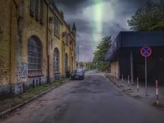 In a sidestreet (wojciechpolewski) Tags: sidestreet street urban road streetexploration urbanexplorer wpolewski poland car clouds stormyclouds stormweather