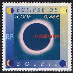 Französische Briefmarken (micky the pixel) Tags: briefmarke stamp ephemera france frankreich astronomischesereignis celestialevent sonnenfinsternis eklipse solareclipse sonne mond sun moon