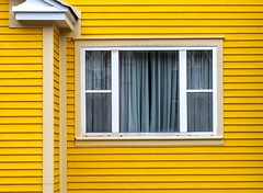 Yellow House (Karen_Chappell) Tags: yellow house white trim wood wooden paint painted clapboard home rowhouse jellybeanrow window architecture building stjohns city urban downtown canada eastcoast avalonpeninsula atlanticcanada curtains lines geometry geometric one