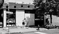 Dead End (Kenneth Laurence Neal) Tags: newyorkcity urban street streetphotography people signs contrast shadows tree blackandwhite blackdiamond monochrome monotone nikon nikond7100 sidewalk store deadend cities citylife streetphoto