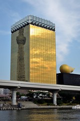 Asahi beer headquarters reflecting Skytree on one side and bright clouds on the other (Abhay Parvate) Tags: asahibeer skytree asakusa 浅草 city cityscape architecture sky blue