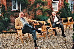 Michael Whelan & Wayne Swift relax over afternoon tea at John Doubleday's studio (photo courtesy of Helen Dorey & Marcus Geisser)