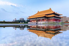 Taipei National Theater (Frederik Morbe) Tags: taipei taiwan theater liberty square reflecting reflection water puddle summer morning sunrise architecture china chinese asia asian taiwanese traditional building travel sightseeing destination scenic roof colorful wet panorama landscape
