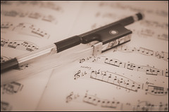 Rest time (G. Postlethwaite esq.) Tags: dof bokeh bow closeup depthoffield monochrome music photoborder selectivefocus sheetmusic violin