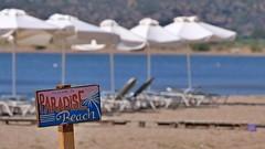 Welcome to Paradise Beach (Sanseira) Tags: griechenland greece lesbos lesvos paradise beach skala kallonis schild