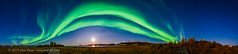 Aurora Panorama from Rotary Park, Yellowknife (Amazing Sky Photography) Tags: panorama acr aurora northwestterritories northernlights yellowknife urban arc green autumn moon moonlight nightscape bigdipper rotarypark curtains waxing gibbous nwt september