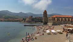 Collioure is a beauty (clairescosmos) Tags: france collioure harbour beach nikon d5600 chateaux church tower plage seaside sea coast pyrenees swim sun holiday southfrance catalan pier lighthouse catalonia