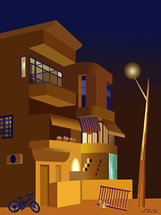 Frishman street at night. Created by Photoshop June 2019