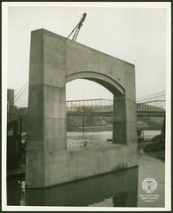 Fort Henry Bridge Construction (Ohio County Public Library) Tags: wheelingwv wheeling forthenrybridge fthenrybridge construction bridgeconstruction ohioriver steelbridge