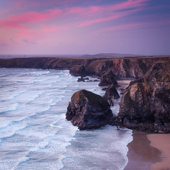 Bedruthan Steps (Timothy Gilbert) Tags: panasonic1235mmf28x beach panasonic sunset boulders m43 microfourthirds lumix microfournerds gx8 cornwall coast seastack bedruthansteps
