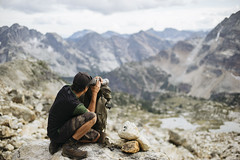 Where's the meat? (JeffAmantea) Tags: meat goat hunt hunting valhalla provincial park kootenays kootenay valhallas bc british columbia canada hike hiking outdoor outside mountain range gear spotting scope backpack clouds sony alpha sonyalpha a7ii emount mirrorless metabones nikon nikkor 50mm f14