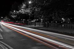 colored street (duparquealexandre) Tags: color pause longue voiture city ville urban urbain nb noir et blanc black withe orange red rouge evening night car last fujifilm fuji x xt20 photography photographer namur soir light lumière