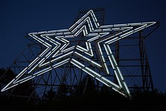 like a bolt out of the blue... (i saw the Sign) Tags: neon star sign signage millmountain roanoke virginia va scaffold dusk bluehour