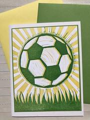Soccer ball card (artnoose) Tags: yellow green soccer ball card a2 envelope etsy
