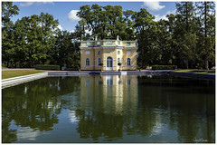 Catherine Palace Gardens (clive_metcalfe) Tags: leningrad petrograd catherinepalace gardens pond trees building water stpetersburg russia reflection