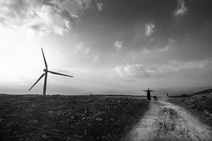 Over there (yarn.spinner) Tags: wind turbine sky top road landscape mountain feel outdoors