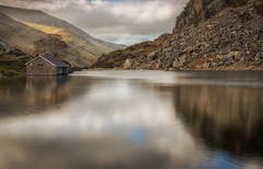 Llyn Ogwen Boat House (peter_beagan) Tags: ngc ogwen llyn boat house stone lake reflection sky clouds still water wales north snowdonia moutains canon 5d filters long exposure
