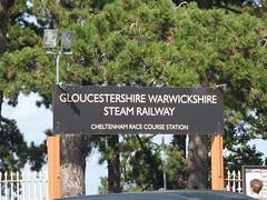 Cheltenham Race Course Station on the GWSR - sign (ell brown) Tags: cheltenham cheltenhamspa gloucestershire england unitedkingdom greatbritain spatown tree trees cotswolds gloucestershirewarwickshiresteamrailway gwsr gloucswarkssteamrailway gwr cheltenhamracecoursetobroadway cheltenhamracecoursestation cheltenhamracecourse prestbury sign carpark