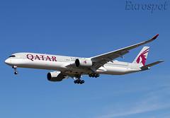 F-WZFC Airbus A350-1000 Qatar (@Eurospot) Tags: fwzfc a7ank airbus a350 a3501000 qatar toulouse blagnac