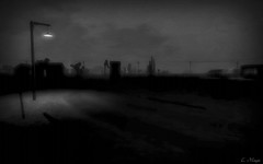 The Shadows (Loegan Magic) Tags: secondlife landscape darkness night shadow road lightpost sky horizon street streetlamp streetlight