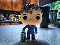 Day 186: Vinyl Figure (Thunderstormnightmare) Tags: blue red summer brown home kitchen toy doctorwho funko wood orange green yellow cabinets black cup window