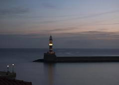 (joannasaviour) Tags: olympus em5 mark ii sunset light purple lilac sun bay chania crete lighthouse glow gold golden water