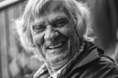 Beaming smile (Frank Fullard) Tags: candid street portrait gentleman man smile older elder hair grin friendly happy beaming black white blanc noir tugofwar castlebar mayo irish ireland face expression frankfullard fullard