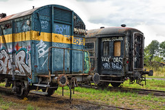 Graffiti train wagons. (wimjee) Tags: nikond7200 nikon d7200 afsdx1680mmf284eedvr decayed urban abandoned decay vervallen verlaten urbex train trein wagon graffiti fbpage pint 500px