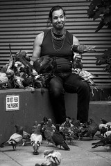 The Pigeonman From Hell (Creekside Photog) Tags: blackandwhite person street newyorkcity midtown hellskitchen pigeon