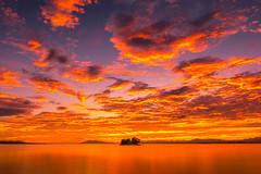 sunset 8298 (junjiaoyama) Tags: japan sunset sky light cloud weather landscape orange yellow contrast color bright lake island water nature calm dusk serene reflection autumn fall