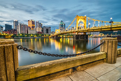 Pics from Pittsburgh #3 (tquist24) Tags: alleghenyriver hdr nikon nikond5300 northshoretrail outdoor pennsylvania pittsburgh robertoclementebridge bridge city cityscape clouds downtown fence geotagged lights longexposure morning outside reflection reflections river sky water color colorful colour colourful skyline