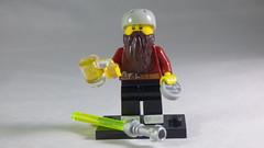 Brick Yourself Custom Lego Minifigure - Cyclist with Volkswagon Badge, Lightsaber & Beer