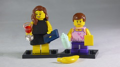 Brick Yourself Custom Lego Minifigures - Mum with wine & Purse & Daughter with Baby Bottle, Cheese & Banana
