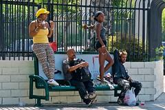 On Vine Street (Rick Del Carmen) Tags: losangeles vinestreetlosangeles color colorstreetphotography menwomen streetfashion downtown nikond300s sidewalkbench yellowcap streetphotography