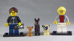 Brick Yourself Custom Lego Minifigures - Happy Couple with Dog Trio