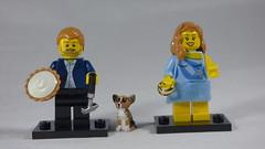 Brick Yourself Custom Lego Minifigures - Happy Couple with Pie, Ring, Golf Club & Custom Dog